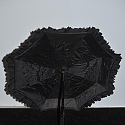 Old Doll Child's Parasol Umbrella Carved Wood Folding Handle Ornate