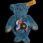 Vintage Steiff Teddy Bear Mohair Blue Jointed W/ Tags Miniature