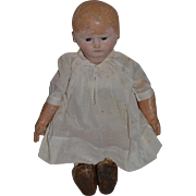 Antique Doll Martha Chase Oil Cloth Doll Dressed and Button up Shoes