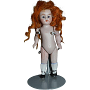 Old Doll Miniature All Bisque Jointed Red Head Dollhouse Glass Eyes