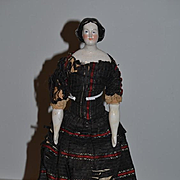 Antique Doll China Head Old Silk Dress Layers of Undergarments Conta & Boehme Jenny Lind