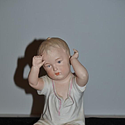 Old HUGE Heubach Piano Baby Doll Figurine Bisque
