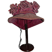 Old Doll Hat A KURZ Original New York Velvet w/ Flowers and Bow
