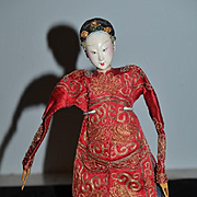 Antique Doll Oriental Opera Doll Wood Arms and Legs Gorgeous!