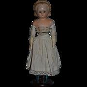 Antique Doll Wax Over Papier Mache Pumpkin Head Wood Legs Glass Eyes