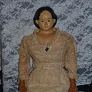 """Antique Doll Papier Mache LARGE Greiner W/ Greiner Tag 34"""" Tall"""