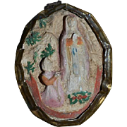 Old Miniature Dollhouse Religious Icon Wall Hanging Figurine Sweet