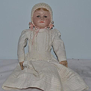 Antique Doll Oil Cloth Martha Chase Wonderful Size in Christening Gown
