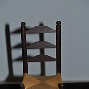 Old Miniature Doll Cane Bottom Wood Chair Ladder Back Folk Art