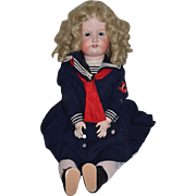 """Antique Doll Morimura Brothers Bisque Doll Large Sweet Face Sailor Outfit 27"""" Tall"""