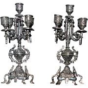 Wonderful Miniature Doll Candelabra Set Sterling Candles Ornate Dollhouse