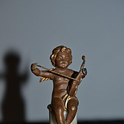 Old Doll Miniature Cherub Playing Music on Pedestal Bronze? Metal? Marble Dollhouse