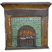 Old Doll Tin Litho Metal Fireplace Fire Place Bank Unusual Dollhouse Miniature
