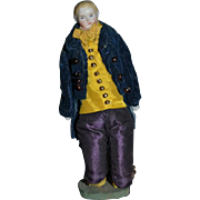 Antique Doll China Head Man In Original Costume.. Doll on Knees Miniature Dollhouse
