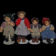 Vintage Doll Set Artist Dolls Cloth Dolls WONDERFUL Hand Painted Stockinette