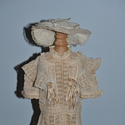 Wonderful Doll Dress Lace with old silk bows FAB W/ Hat For Antique Doll