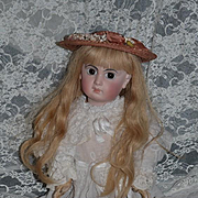Antique Doll French Bisque EJ Closed Mouth Straight Wrist