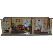 Antique Doll Miniature Dollhouse Diorama Room Box Filled W/ Furniture and Dolls! Pram
