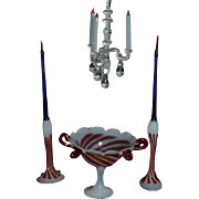 Old Doll Miniature Candle Sticks Compote Centerpiece Glass Art Glass Ornate Dollhouse Swirled Glass