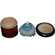 Old Doll Miniature Vanity Jar Plaid W/ Powder Puff and Wood Plaid Brush French Fashion Powder Jar