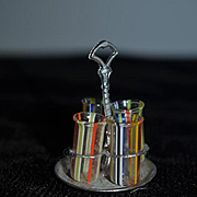 Old Doll Miniature Art Glass & Metal Carrying Tray Dollhouse Set