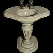 Wonderful Old Doll French Miniature Sink Wood W/ Metal Handles Fancy W/ part label Pedestal Sink