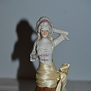 Old Doll China Head Half Doll Wisk Broom Figurine