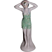 Old German Doll Pink Tint Bathing Beauty Figurine Hertwig