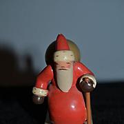 Vintage Doll Miniature Wood Santa Pulling Sleigh w/ Baby Dollhouse Adorable Wuk Figurine Wendt Khun