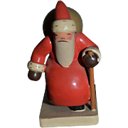Vintage Doll Miniature Wood Santa Pulling Sleigh w/ Baby Dollhouse Adorable Wuk Figurine Wendt Khun