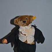 Vintage Steiff Teddy Bear Jointed Dressed and Signed  Jointed Mohair W/ Button Tag