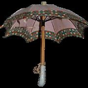 Antique Doll Parasol Umbrella Miniature Fashion Doll Seashell Porcelain Handle