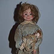 Antique Doll French Key Wind Walking Child By Roullet and Decamps Papier Mache Paper Mache Character Face Mechanical w/ French Baby