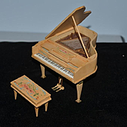 WONDERFUL Doll Miniature Piano Dollhouse Artist Full of Details W/ Bench Stool
