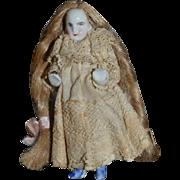 Old Doll Frozen Charlotte Miniature W/ Wig Human Hair Dollhouse China Head