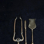 Old Doll Miniature Fireplace Tool Set Brass Ornate Heavy for Dollhouse