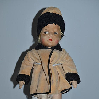 Old Doll Cloth Doll Rag Doll Painted Features Eugenie Poir French Doll