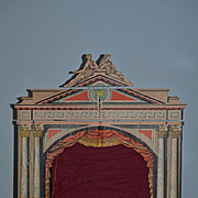 Antique Doll Miniature Theater Theatre W/ Figure Litho Ornate For Miniature Bisque Dolls and More