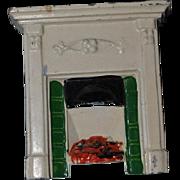 Old Doll Miniature Taylor & Barrett Fireplace Fire Place Dollhouse Metal