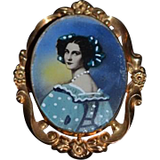 Old Miniature Doll Portrait Picture W/ Ormolu Frame Necklace or Wall Hanging Dollhouse