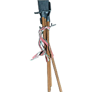 Vintage Doll Dollhouse Miniature Tools Yard Tools Rake Shovel Pitch Fork Metal and Wood