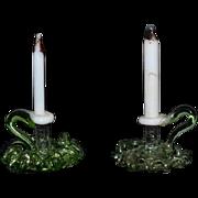 Vintage Doll Glass Ornate Candle Sticks Miniature Dollhouse
