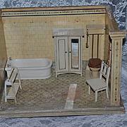 Old Doll Miniature Dollhouse Diorama Bathroom W/ Furniture Wardrobe Tub Toilet Chair Towel Stand Room Box