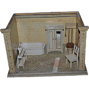 Old Doll Miniature Dollhouse Diorama Bathroom W/ Furniture Wardrobe Tub Toilet Chair Towel Stand Room Box