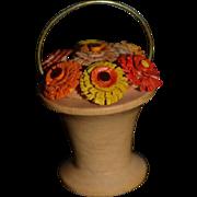 Vintage Doll Miniature Wood Basket of Carved Wood Flowers Dollhouse