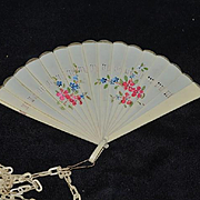 Wonderful Miniature Fan Celluloid W/ Hand Painted Flowers on Chain for Fashion Doll
