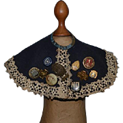Wonderful old Doll Cape Filled with Pin Backs and Medals Unusual