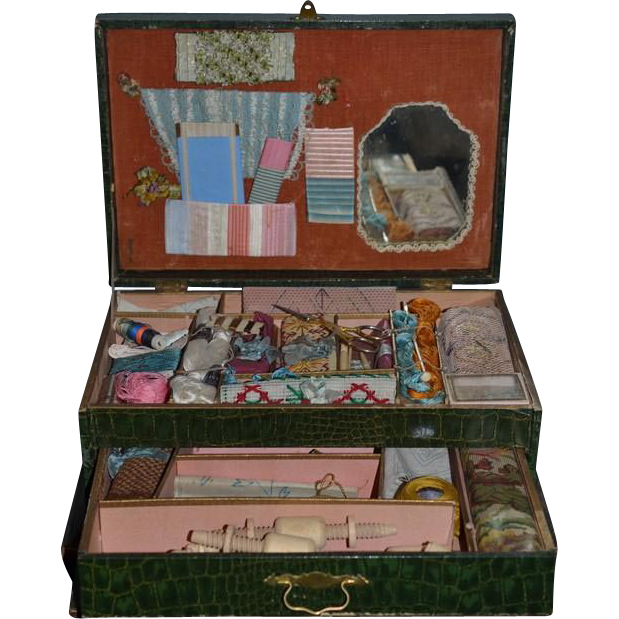 Antique Doll French Wood Box Sewing Kit W Drawers Filled