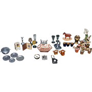 Wonderful Doll Miniature Lot Plants Perfume Glassware Pohotgraphs