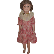 Old Doll Wood Schoenhut Carved Jointed Miss Dolly Green Oval Label LARGE